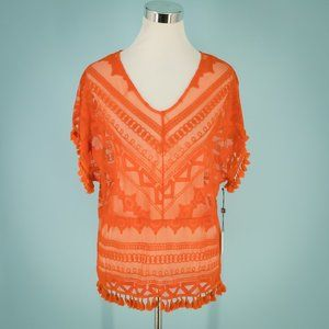 Laundry By Shelli Segal S Mesh Fringe Sheer Top NW
